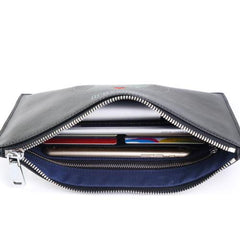 Handmade Leather Mens Clutch Cool Slim Wallet Zipper Clutch Wristlet Wallet for Men