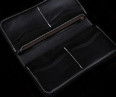 Handmade Leather Mens Cool Long Black Obsidian Chain Wallet Biker Trucker Wallet with Chain