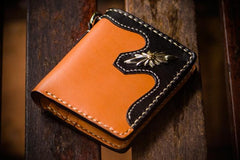 Handmade Leather Trucker Bag Mens Short Wallet Cool Chain Wallet Biker Wallet for Men