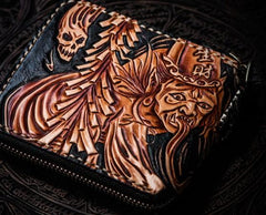 Handmade Leather Chinese Black&White Tooled Mens Short Wallet Cool Leather Wallet Biker Wallet for Men