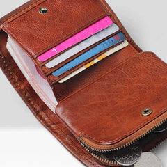 Handmade Mens Cool Short Leather Wallet Men Small Zipper Wallets Bifold for Men