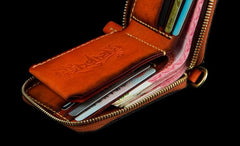 Handmade Leather Small Tibetan Tooled Mens Short Wallet Chain Wallet Cool Biker Wallet for Men