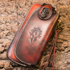 Handmade Leather Mens Cool Long World of Warcraft Leather Chain Wallet Cards Biker Trucker Wallet