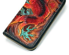 Handmade Leather Carp Mens Tooled Long Chain Zipper Biker Wallet Cool Leather Wallet Long Phone Wallets for Men