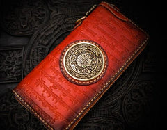 Handmade Leather Tibetan Mens Biker Chain Wallet Cool Leather Chain Wallet Long Wallets for Men