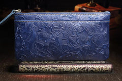 Handmade Leather Mens Cool Zipper Phone Travel Long Wallet Holder Slim Clutch Wallets for Men
