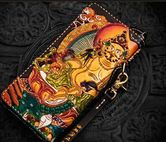 Handmade Leather Tooled Yellow Jambhala Mens Biker Chain Wallet Cool Leather Wallet Zipper Long Phone Wallets for Men