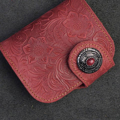 Handmade Leather Floral Mens Cool Biker Wallet Leather Wallet Men billfold Wallets Bifold for Men
