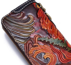 Handmade Leather Acalanatha Tooled Long Mens Chain Biker Wallet Cool Leather Wallet With Chain Wallets for Men