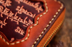 Handmade Leather Mens Tibetan Chain Biker Wallet Cool Tooled Leather Wallet Long Clutch Wallets for Men