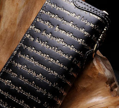 Handmade Leather Mens Chain Tibetan Biker Wallet Cool Leather Wallet Long Phone Wallets for Men