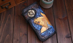 Handmade Leather Carp Mens Tooled Chain Long Biker Wallet Cool Leather Wallet With Chain Wallets for Men