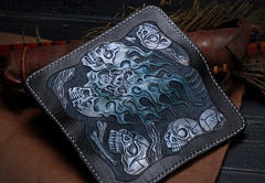 Handmade Leather Skull Tooled Long Mens Chain Biker Wallet Cool Leather Wallet With Chain Wallets for Men