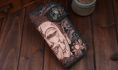 Handmade Leather Mens Cool Long Tooled Black Buddha Chain Wallet Biker Trucker Wallet with Chain