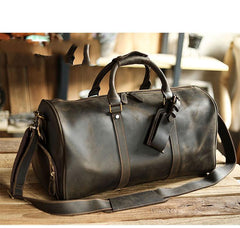 Black Leather Mens Casual Large Travel Bags Shoulder Weekender Bags Brown Duffle Bag For Men