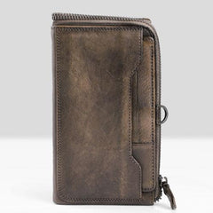 Handmade Leather Mens Cool Long Leather Wallet Bifold Clutch Wallet for Men
