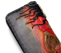 Handmade Leather Mah¨¡k¨¡la Mens Tooled Long  Biker Wallet Cool Leather Wallet With Chain Wallets for Men