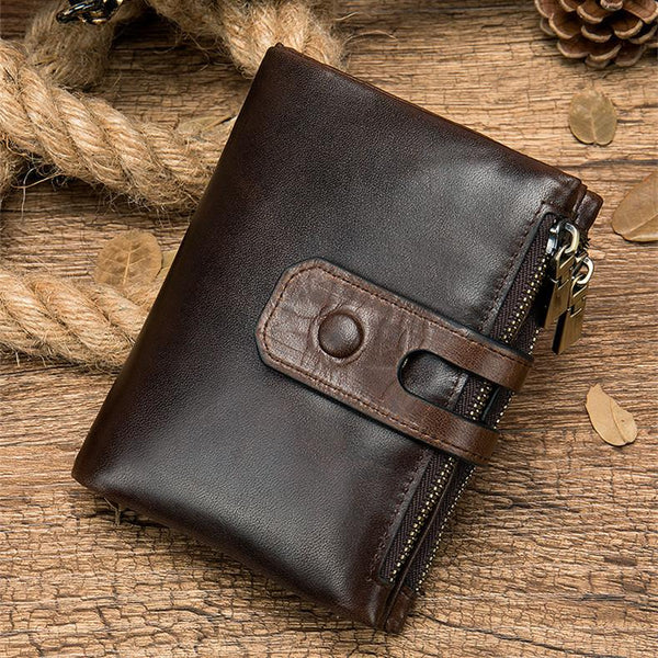 RFID Brown Leather Men's Double Zipper Small Wallet Black Short Wallet For Men