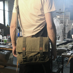 Army Green Canvas Mens Side Bag Messenger Bag Canvas Courier Bag Postman Purse For Men
