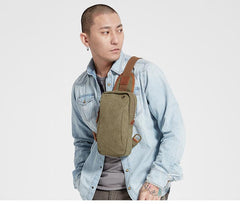 Army Green Canvas Sling Backpack Men's Sling Bag Blue Chest Bag Canvas One shoulder Backpack For Men