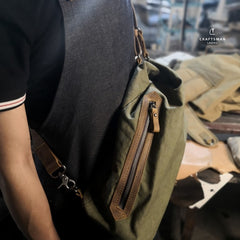 Army Green Canvas Mens Sling Bag One Shoulder Pack Sling Pack Bag For Men