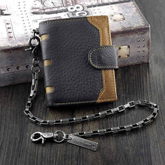 BADASS BLACK Coffee LEATHER MENS TRIFOLD SMALL BIKER WALLET Coffee CHAIN WALLET WALLET WITH CHAIN FOR MEN