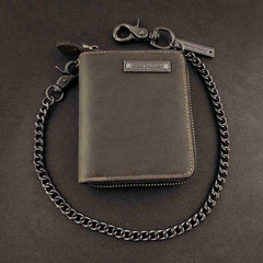 BADASS DARK BROWN LEATHER MENS TRIFOLD SMALL BIKER WALLET CHAIN WALLET Zipper WALLET WITH CHAIN FOR MEN