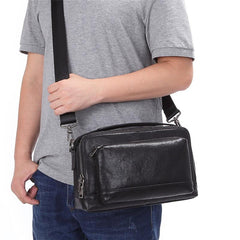 Black LEATHER MENS Small Postman Bag SIDE BAG COURIER BAG Black MESSENGER BAG FOR MEN