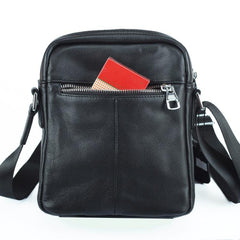 Black LEATHER MENS 8-inch Phone Small Vertical Side Bag Black COURIER BAG MESSENGER BAG FOR MEN