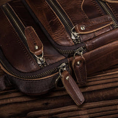 Brown LEATHER MENS Small Vertical Courier Bag SHOULDER BAG SIDE BAG COURIER BAG MESSENGER BAG FOR MEN