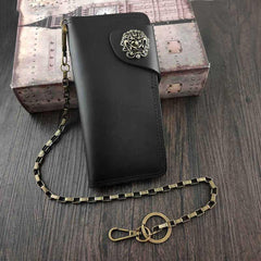 Badass Black Leather Men's Long Biker Chain Wallet Black Long Wallet with Chain For Men