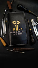 Badass Leather Men's Kobe Bryant Long Wallet Handmade Tooled Zipper Long Wallets For Men