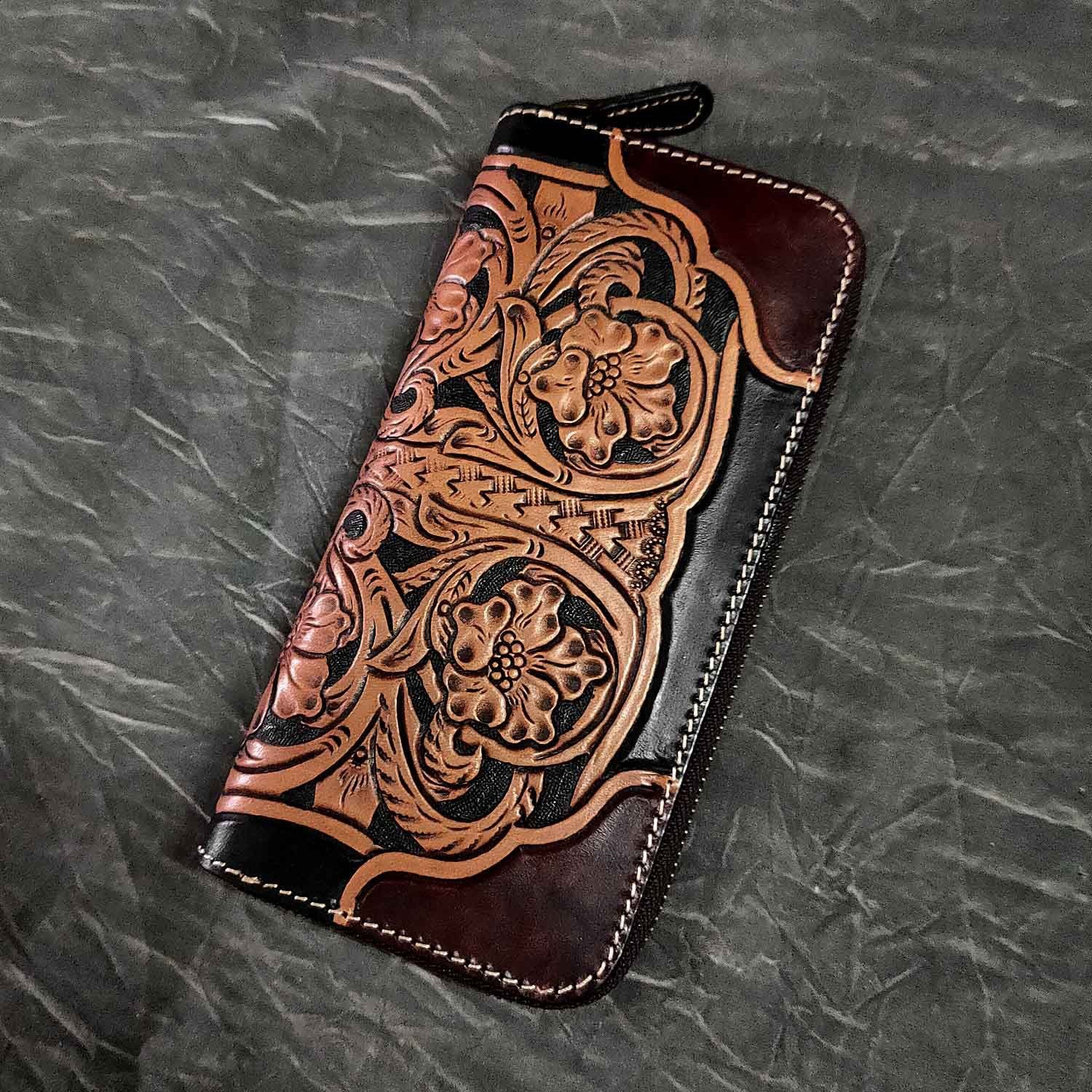 Badass Maroon Leather Men's Long Biker Tooled Wallet Floral Tooled Zipper Long Wallets For Men