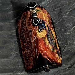 Badass Black Leather Men's Long Biker Handmade Wallet Beast Totem Tooled Zipper Long Chain Wallets For Men
