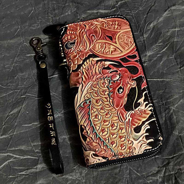 Badass Black Leather Men's Long Biker Wallet Golden Carp Handmade Tooled Zipper Long Wallets For Men