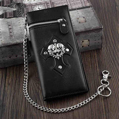 Badass Black Leather Men's Skull Long Biker Wallet Bifold Black Chain Long Wallets For Men