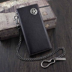 Badass Black Leather Men's Metal Star Long Biker Chain Wallet Bifold Long Wallet with Chain For Men