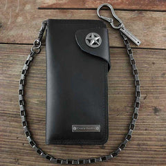Badass Black Leather Men's Punk Star Long Biker Chain Wallet Long Wallet Chain For Men
