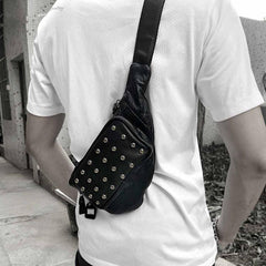 Badass Black Leather Men's Sling Bag Punk Chest Bag Rivet One shoulder Backpack Phone Bag For Men