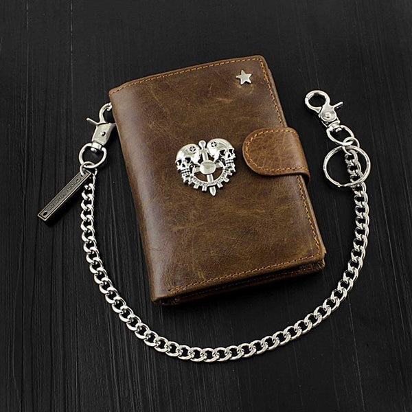Cool Leather Men's Trifold Punk Ghost Head Skull Biker Wallet Brown Chain Wallets Wallet with chain For Men