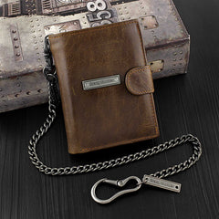 Brown Leather Men's Trifold Small Biker Wallet Chain Wallets Badass Wallet with chain For Men