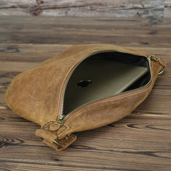 Tan Leather Fanny Pack Men's Brown Chest Bag Hip Bag Bum Bag Waist Bags For Men