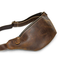 Vintage Brown Leather Fanny Pack Men's Chest Bag Hip Bag Brown Waist Bag For Men