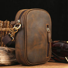 Badass Brown Leather Messenger Bag Men's Small Side Bag Mini Phone Bag Courier Bag For Men