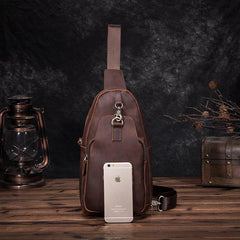Badass Brown Leather Men's Sling Bag Chest Bag Vintage One shoulder Backpack For Men