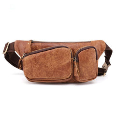 Badass Leather Fanny Pack Men's Brown Hip Bag Bum Bag Waist Bag For Men