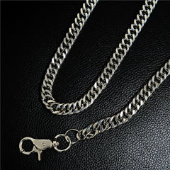 Badass Men's Silver Stainless Steel Wallet Chain Pants Chain Long Biker Wallet Chain For Men