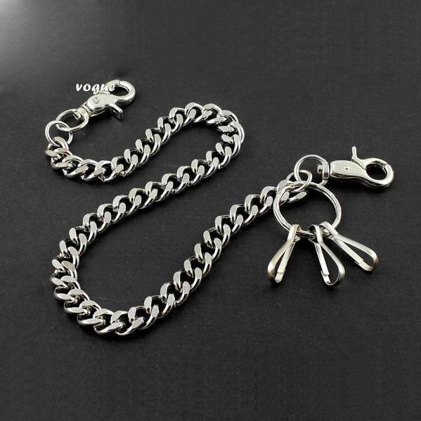Badass SILVER STAINLESS STEEL MENS PANTS CHAIN WALLET CHAIN BIKER WALLET CHAIN FOR MEN