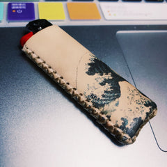Bic Leather Lighter Case The Great Wave of Kanagawa Leather Bic Lighter Holder Leather Bic Lighter Covers For Men