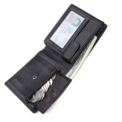 Black Trifold Leather Mens Wallet Small Wallet Billfold Wallet Black Front Pocket Wallet for Men